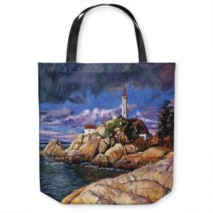 Unique Shoulder Bag Tote Bags | David Lloyd Glover - The Mariners Sentinal | landscape mountain nature