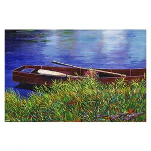 Decorative Floor Covering Mats | David Lloyd Glover - The Red Rowboat | still life lake pond water