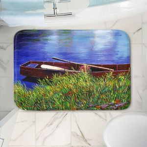 Decorative Bathroom Mats   David Lloyd Glover - The Red Rowboat   still life lake pond water