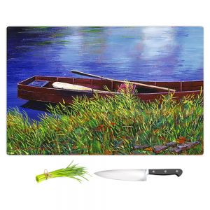 Artistic Kitchen Bar Cutting Boards | David Lloyd Glover - The Red Rowboat | still life lake pond water
