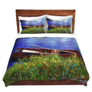 Artistic Duvet Covers and Shams Bedding | David Lloyd Glover - The Red Rowboat | still life lake pond water