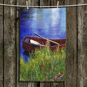 Unique Bathroom Towels | David Lloyd Glover - The Red Rowboat | still life lake pond water