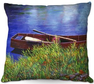 Throw Pillows Decorative Artistic | David Lloyd Glover - The Red Rowboat | still life lake pond water