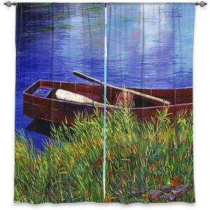 Decorative Window Treatments | David Lloyd Glover - The Red Rowboat | still life lake pond water