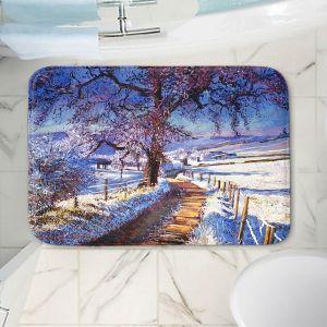 Decorative Bathroom Mats | David Lloyd Glover - The Snow Lined Road | winter nature landscape
