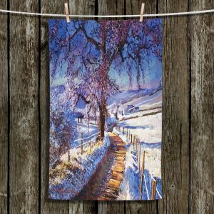 Unique Bathroom Towels   David Lloyd Glover - The Snow Lined Road   winter nature landscape