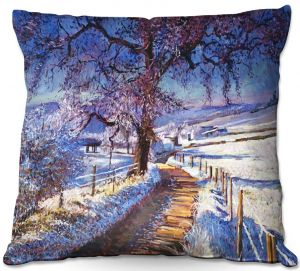 Decorative Outdoor Patio Pillow Cushion   David Lloyd Glover - The Snow Lined Road   winter nature landscape