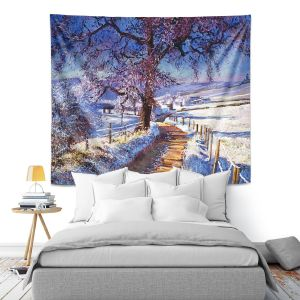 Artistic Wall Tapestry | David Lloyd Glover - The Snow Lined Road | winter nature landscape