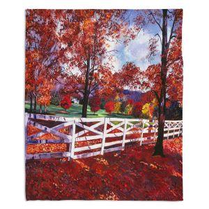 Decorative Fleece Throw Blankets | David Lloyd Glover - Vermont Fence | farm landscape nature fall autumn