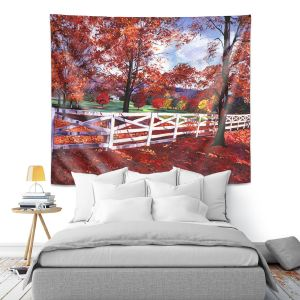 Artistic Wall Tapestry   David Lloyd Glover - Vermont Fence   farm landscape nature fall autumn