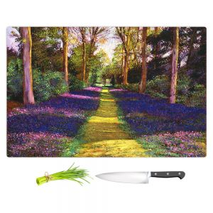 Artistic Kitchen Bar Cutting Boards | David Lloyd Glover - Walking Through Blue | forest path trees nature