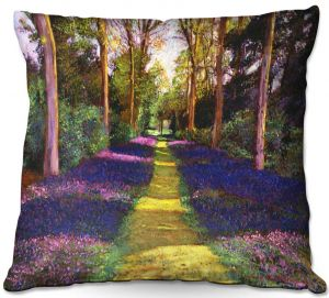 Decorative Outdoor Patio Pillow Cushion   David Lloyd Glover - Walking Through Blue   forest path trees nature