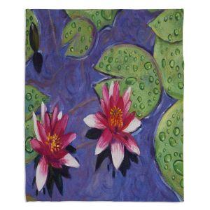 Decorative Fleece Throw Blankets | David Lloyd Glover - Water Lilies | pond flower nature