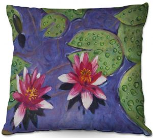 Throw Pillows Decorative Artistic | David Lloyd Glover - Water Lilies | pond flower nature