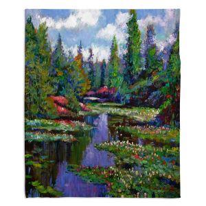 Decorative Fleece Throw Blankets | David Lloyd Glover - Waterlily Lake Reflections