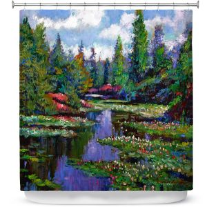 Unique Shower Curtain from DiaNoche Designs by David Lloyd Glover - Waterlily Lake Reflections