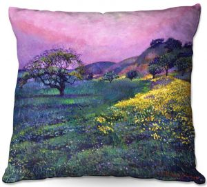 Decorative Outdoor Patio Pillow Cushion | David Lloyd Glover - Wildflower Fields | landscape nature