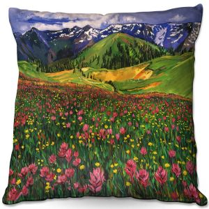 Decorative Outdoor Patio Pillow Cushion | David Lloyd Glover - Wildflowers | landscape mountain nature