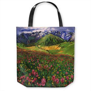 Unique Shoulder Bag Tote Bags | David Lloyd Glover - Wildflowers | landscape mountain nature