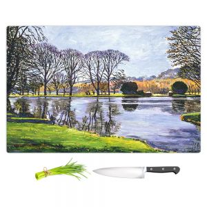 Artistic Kitchen Bar Cutting Boards | David Lloyd Glover - Winter Lakeshore | landscape lake forest park