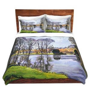 Artistic Duvet Covers and Shams Bedding | David Lloyd Glover - Winter Lakeshore | landscape lake forest park