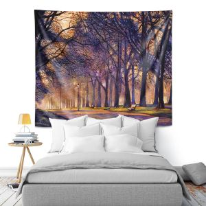 Artistic Wall Tapestry | David Lloyd Glover - Winter Night Central Park | tree snow path
