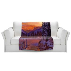 Artistic Sherpa Pile Blankets   David Lloyd Glover - Winters Daybreak   landscape mountain nature