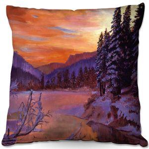 Decorative Outdoor Patio Pillow Cushion   David Lloyd Glover - Winters Daybreak   landscape mountain nature