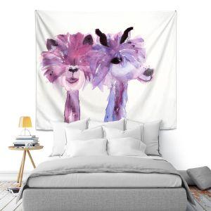 Artistic Wall Tapestry   Dawn Derman - 2 Alpacas   Mountain Animals
