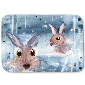 Decorative Bathroom Mats   Dawn Derman - 2 Snow Bunnies   Winter Rabbits