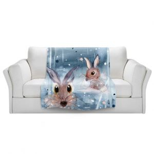 Artistic Sherpa Pile Blankets   Dawn Derman - 2 Snow Bunnies   Winter Rabbits
