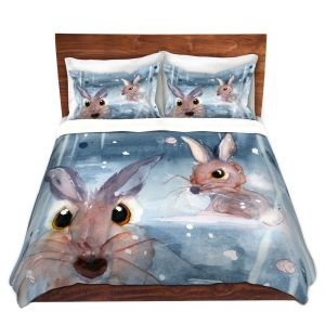 Artistic Duvet Covers and Shams Bedding | Dawn Derman - 2 Snow Bunnies | Winter Rabbits