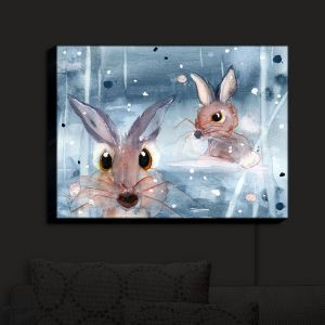 Nightlight Sconce Canvas Light | Dawn Derman - 2 Snow Bunnies | Winter Rabbits