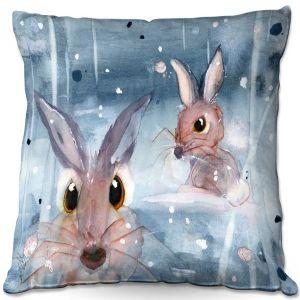 Decorative Outdoor Patio Pillow Cushion | Dawn Derman - 2 Snow Bunnies | Winter Rabbits