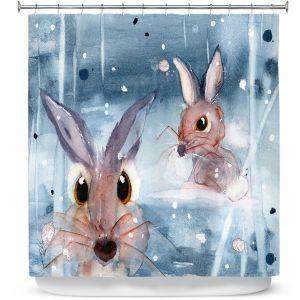Premium Shower Curtains | Dawn Derman - 2 Snow Bunnies