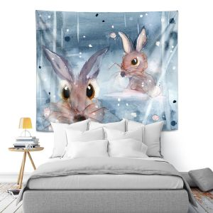 Artistic Wall Tapestry | Dawn Derman - 2 Snow Bunnies | Winter Rabbits