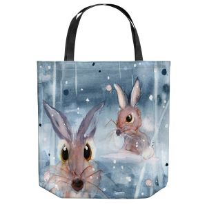 Unique Shoulder Bag Tote Bags | Dawn Derman - 2 Snow Bunnies | Winter Rabbits