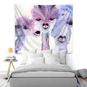 Artistic Wall Tapestry   Dawn Derman - 3 Alpacas   Mountain Animals