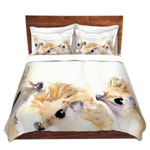 Artistic Duvet Covers and Shams Bedding | Dawn Derman - 3 Hedgehogs | Nature creatures animals small children cute
