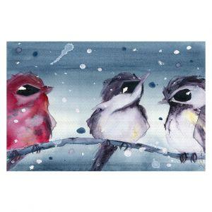 Decorative Floor Covering Mats   Dawn Derman - 3 Snow Birds   Red White Birds