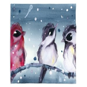 Artistic Sherpa Pile Blankets | Dawn Derman - 3 Snow Birds | Red White Birds