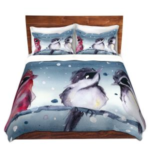 Artistic Duvet Covers and Shams Bedding | Dawn Derman - 3 Snow Birds | Red White Birds