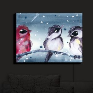 Nightlight Sconce Canvas Light | Dawn Derman - 3 Snow Birds | Red White Birds