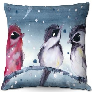 Decorative Outdoor Patio Pillow Cushion | Dawn Derman - 3 Snow Birds | Red White Birds
