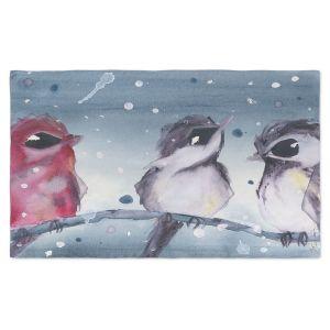 Artistic Pashmina Scarf | Dawn Derman - 3 Snow Birds | Red White Birds