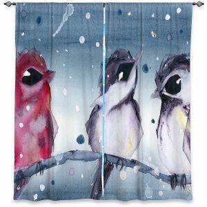 Decorative Window Treatments | Dawn Derman - 3 Snow Birds | Red White Birds