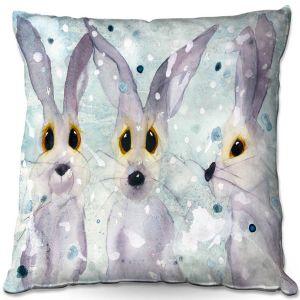 Decorative Outdoor Patio Pillow Cushion | Dawn Derman - 3 Snow Rabbits | Bunnies