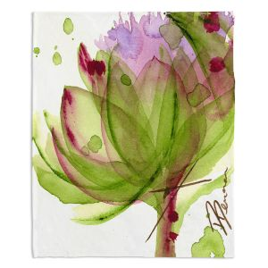 Decorative Fleece Throw Blankets   Dawn Derman - Artichoke Flower