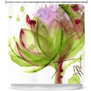 Unique Shower Curtain from DiaNoche Designs by Dawn Derman - Artichoke Flower