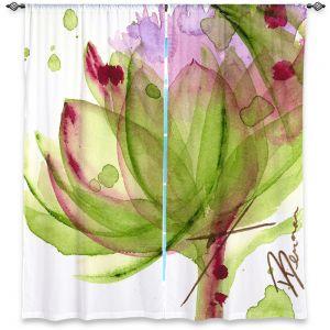 Unique Window Curtain Unlined 80w x 61h from DiaNoche Designs by Dawn Derman - Artichoke Flower